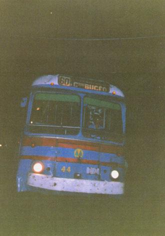 Trolebús 44 entrando por última vez a Estación Buceo.  Foto:  Carlo Pereira